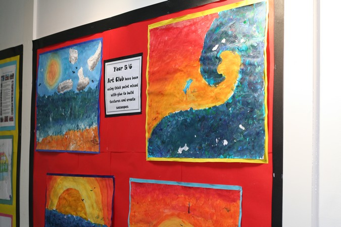 <div class='slide-overlay orange-slide'><h2>Art club have been <br />experimenting with texture</h2></div>